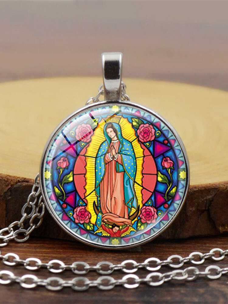 Vintage Virgin Mary Necklace Alloy Glass Printed Pendant Women Sweater Chain