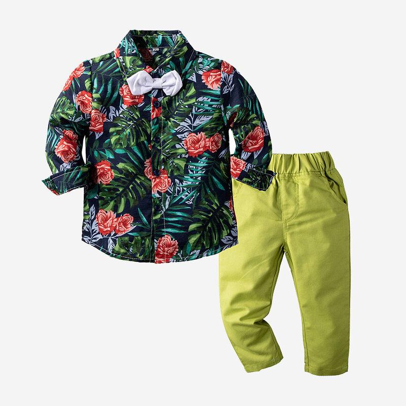 Conjunto de roupas formais para festa de aniversário de cavalheiros com flores de menino para 1-8 anos
