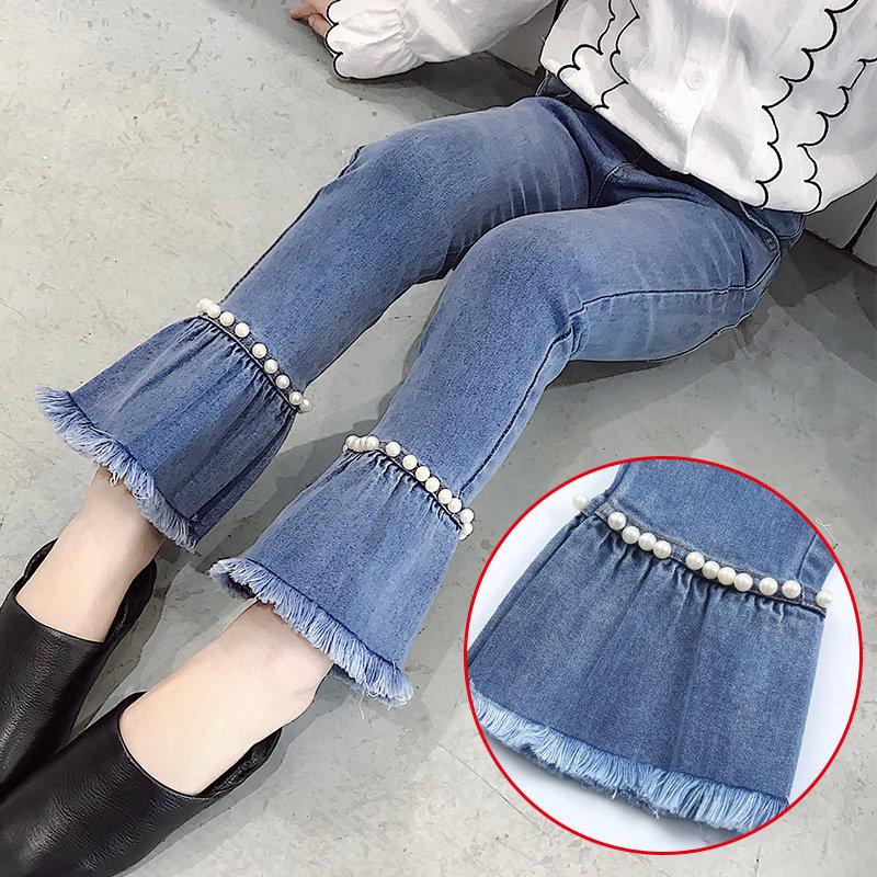 Pearls Patchwork Girl Flare Jeans Kids Long Denim Pants For 4Y-15Y