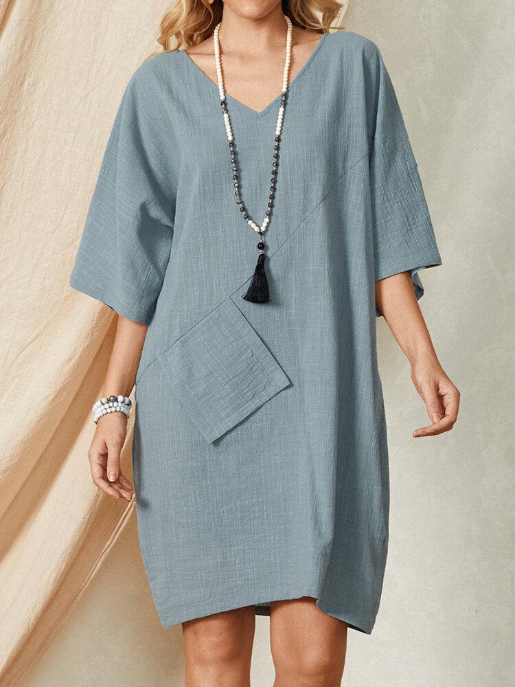 Solid Color Plain Pocket V-neck Half Sleeve Casual Cotton Dress