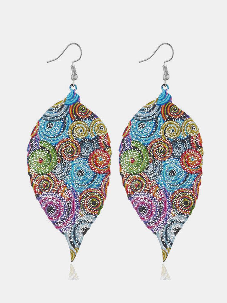 Bohemian Colorful Leaf Earrings Fashion Metal Original Unique Design Dangle Earrings for Women