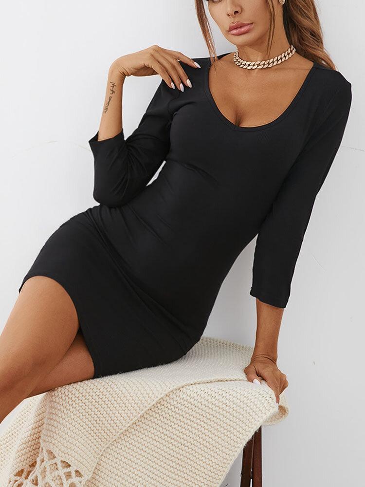 Solid Color V-neck Slit Hem Mini Sexy Dress For Women