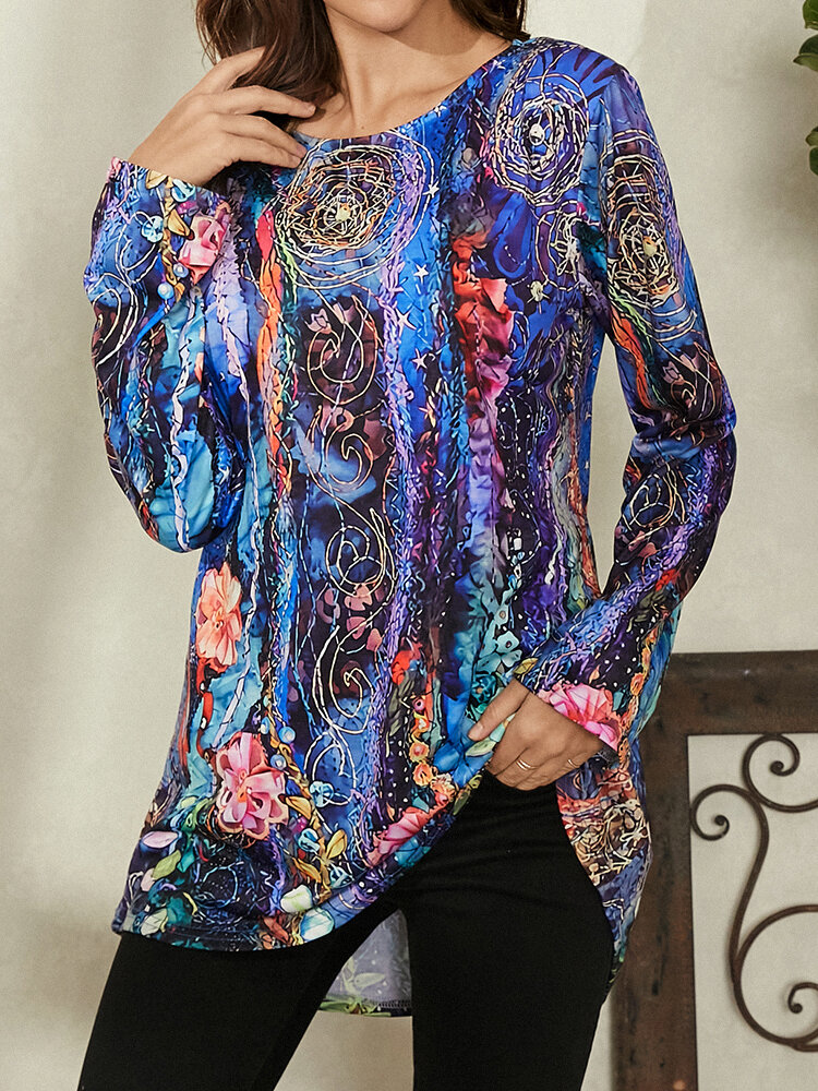 Vintage Floral Print O-neck Long Sleeve Casual T-shirt for Women