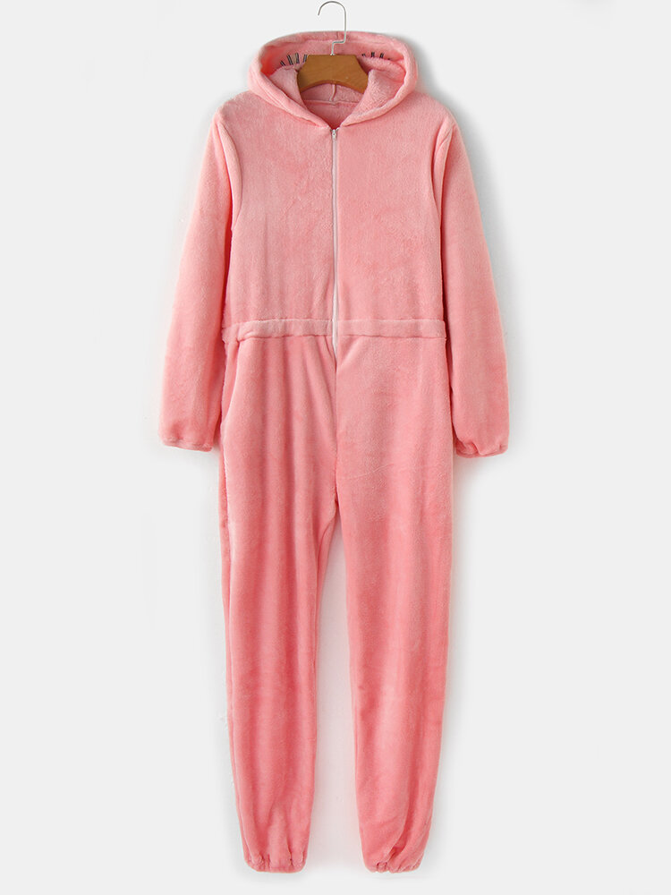 Women Solid Color Flannel Zipper Elastic Waist Hooded Jumpsuit Home Onesies With Pocket