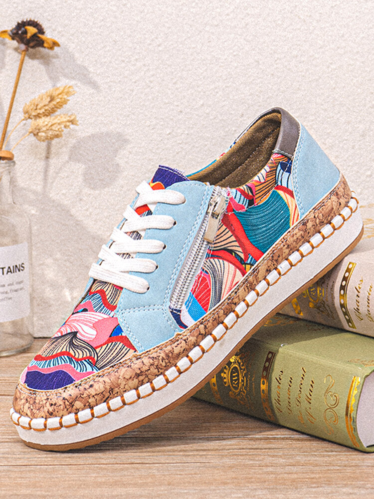 LOSTISY Women Casual Lace-up Zipper Design Colorful Pattern Flat Loafers Shoes