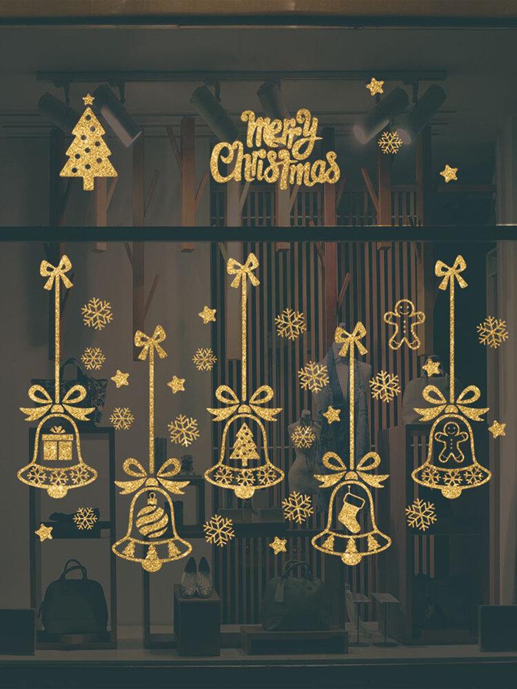2 шт. Рождественский стикер стены двухсторонний рождественский колокольчик снежинка окно стикер украшения стены