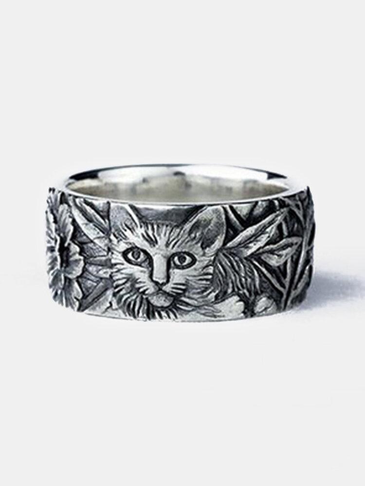 ヴィンテージ動物の女性リング猫マウス合金刻まれたリングジュエリーギフト