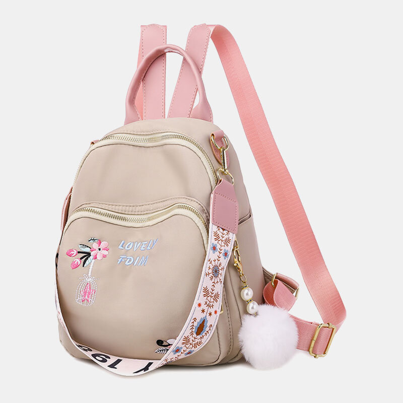 Women Oxford Fluffy Ball Waterproof Embroidery Multi-carry Backpack