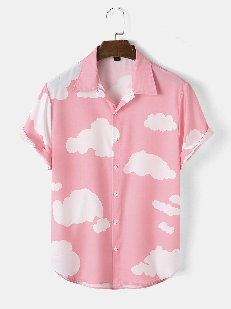 Mens Cloud Print Button Up Holiday Short Sleeve Shirts