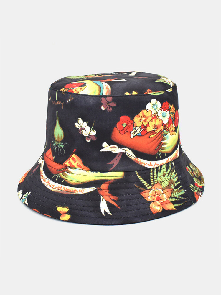 Women Cotton Double-sided Wearable Cartoon Calico Pattern Print Casual Sunshade Bucket Hat