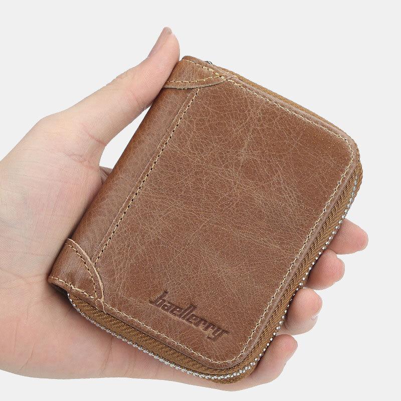 Men Solid 22 Card Slots Purse Zipper Wallet
