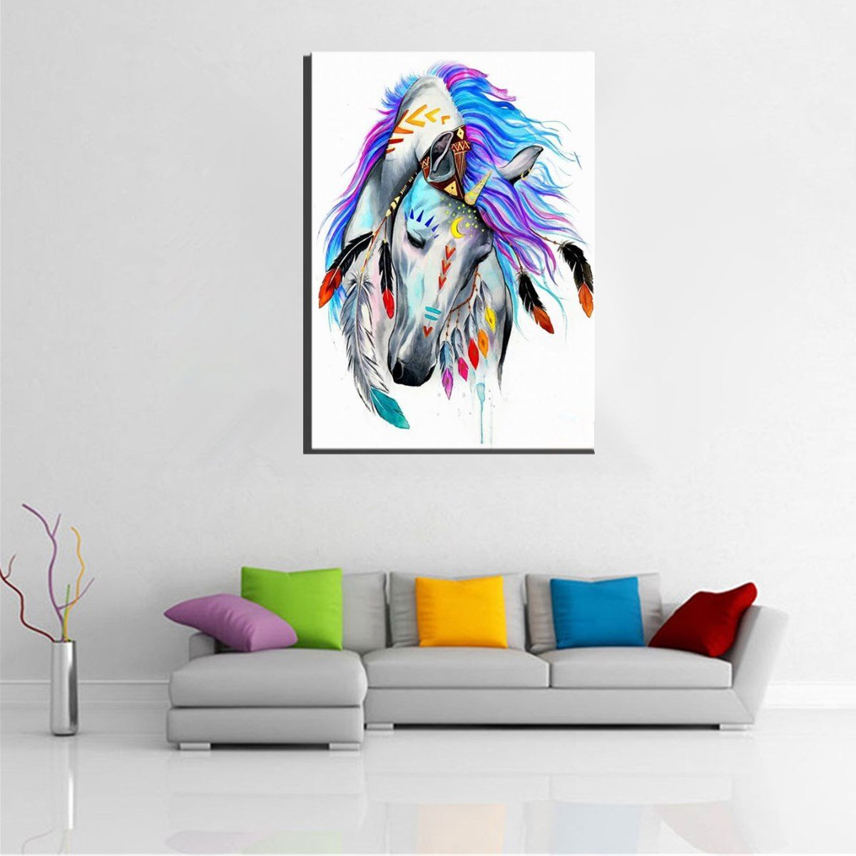 DIY Paint by Number Kit Oil Painting Indian Horse Wall Art Home Decor Framed/Frameless