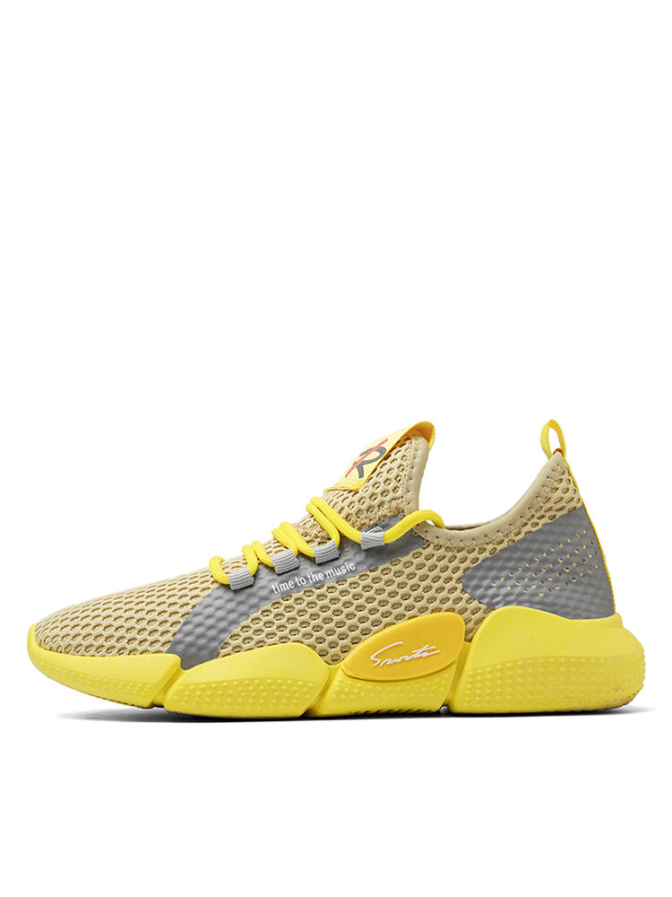 Men Colorblock Mesh Fabric Breathable Sport Casual Running Sneakers