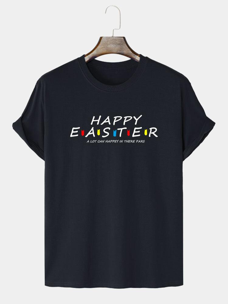 Mens 100% Cotton Easter Letter Print Short Sleeve T-Shirts