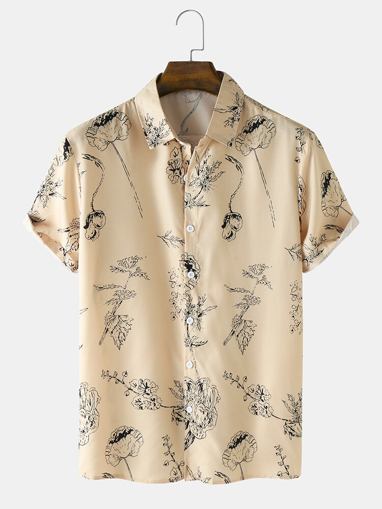 Mens Line Drawing Flower Print Button Up Short Sleeve Shirts
