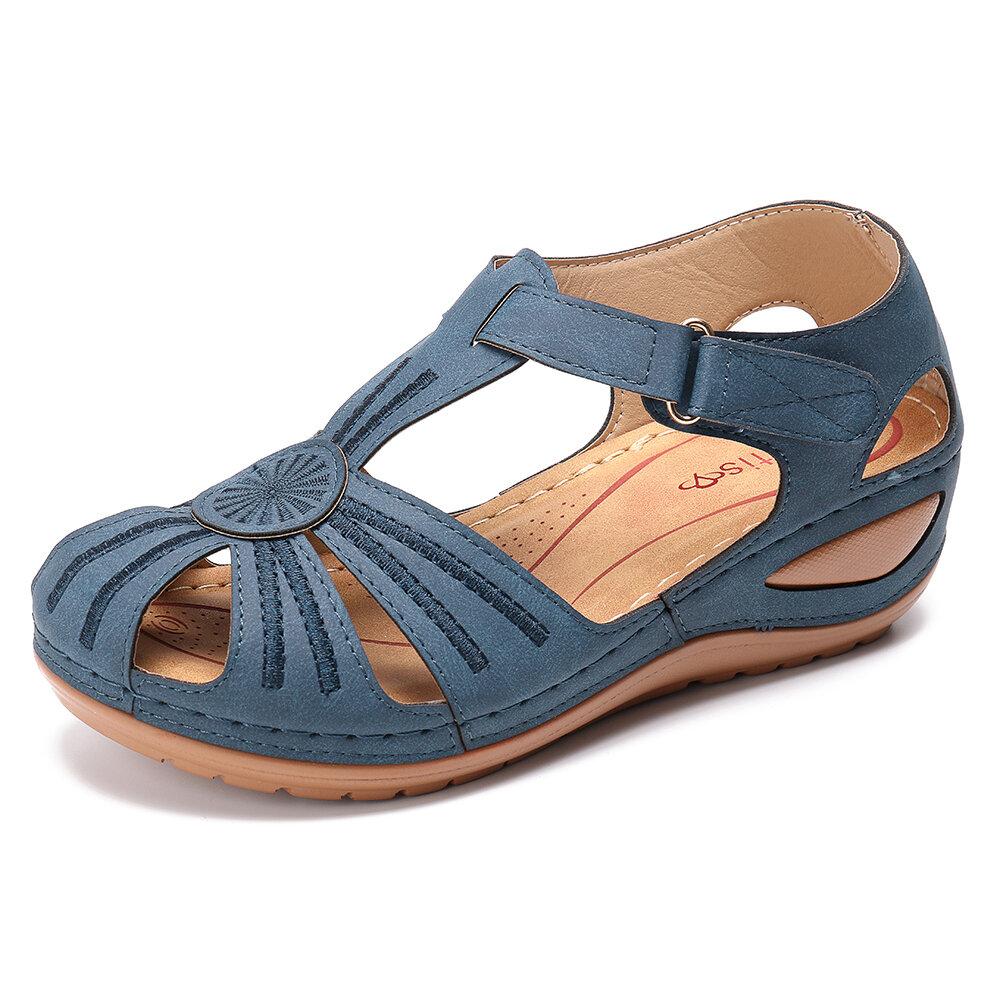 391dda2f28e35 LOSTISY Women Wedges Flower Splicing Casual Comfort Adjustable Sandals