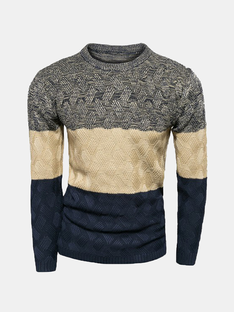 Men's Fall Winter Casual Round Neck Knitted Striped Pullover Long Sleeve Sweater