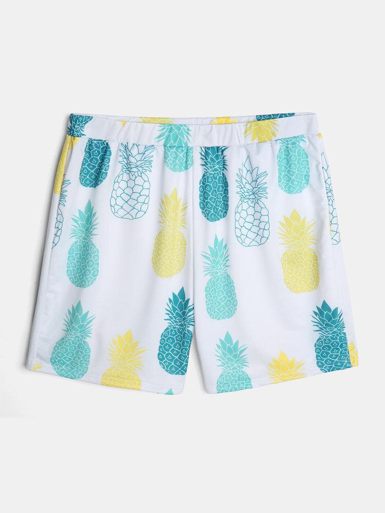 Mens Pineapple Print Elastic Waist Beach Swim Trunk