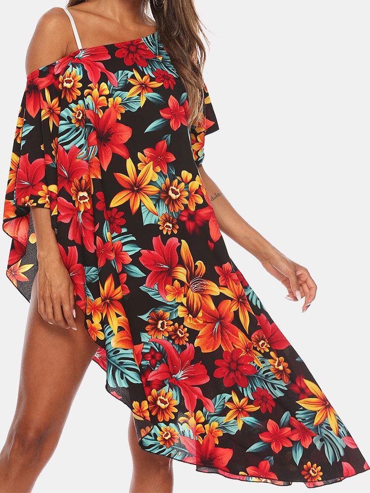Blumendruck Schräge Schulter Plus Größe Strände Holiday Bikini Bluse