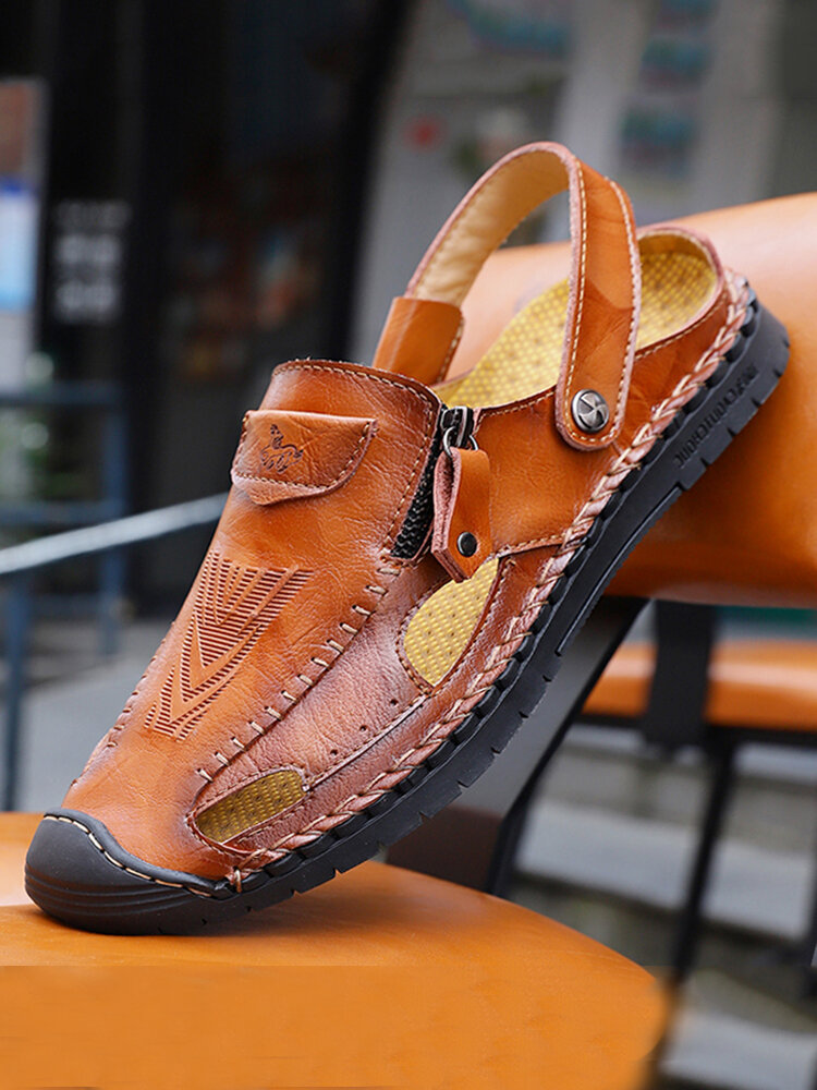 Menico Large Size Men Hand Stitching Side Zipper Toe Protective Leather Sandals