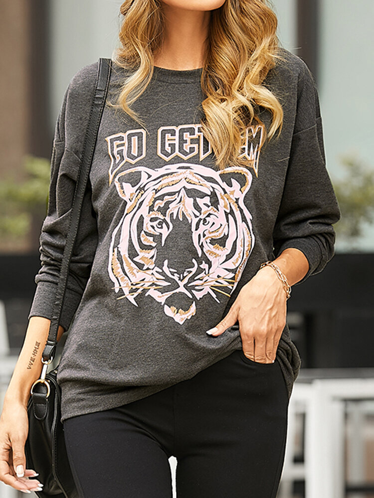 Tiger Print O-neck Long Sleeve Casual Sweatshirt For Women