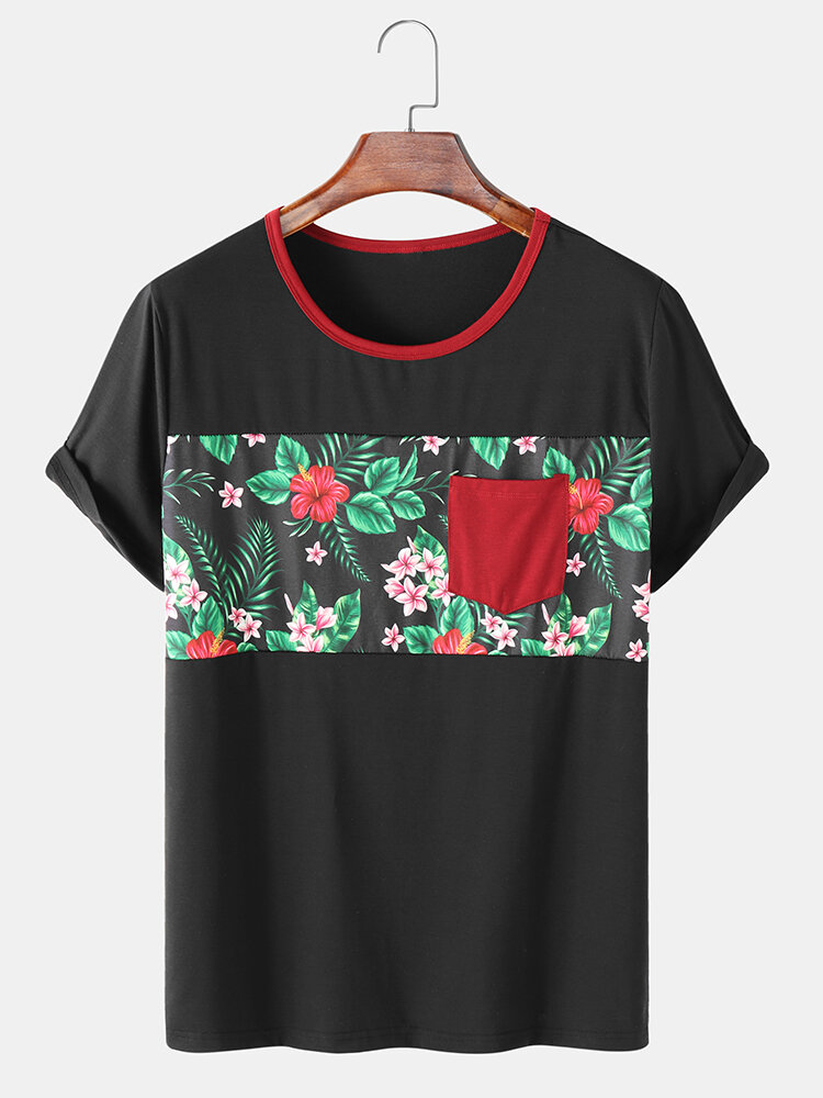 Mens Tropical Plant Print Panel Stitching Holiday Cotton Short Sleeve T-Shirts