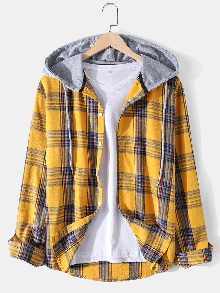 Mens Plaid Print Loose Daily Button Up Long Sleeve Hooded Shirts