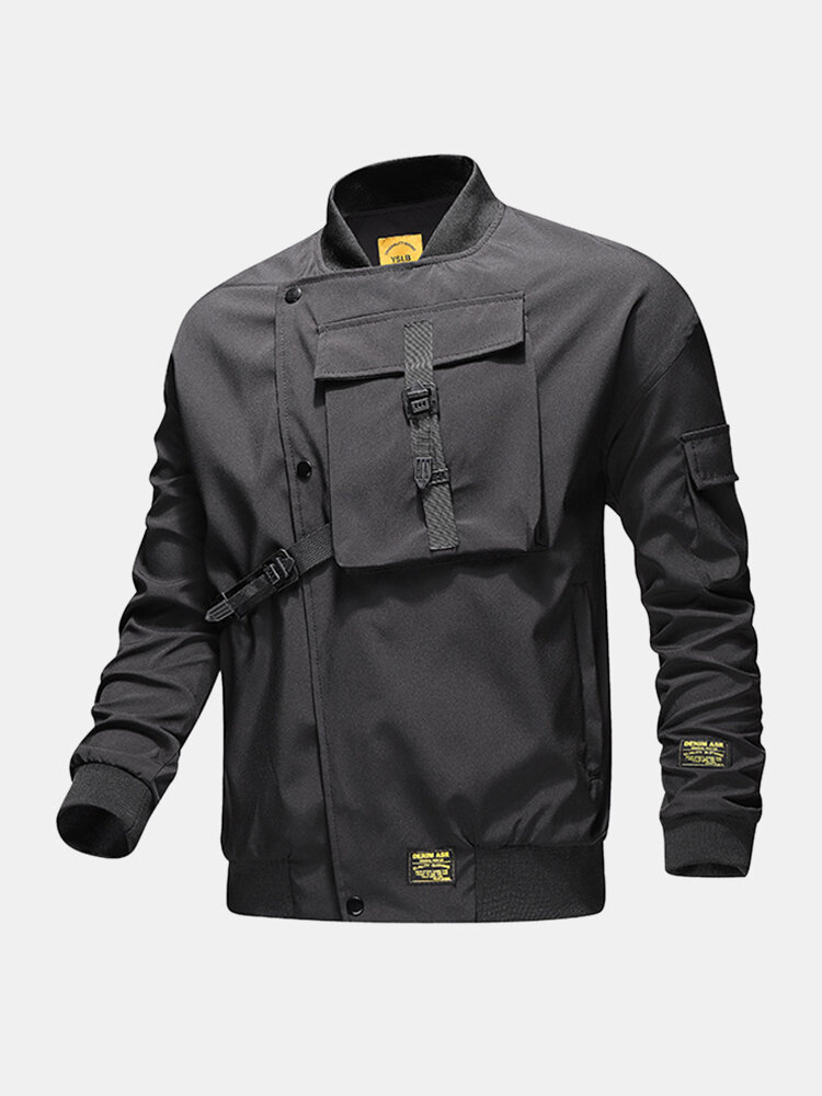 Mens Letter Back Printed Applique Baseball Collar Loose Jackets With Push Buckle