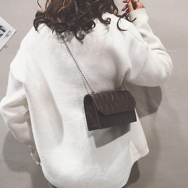 Women Plain Crocodile Pattern Shoulder Bag Crossbody Bag