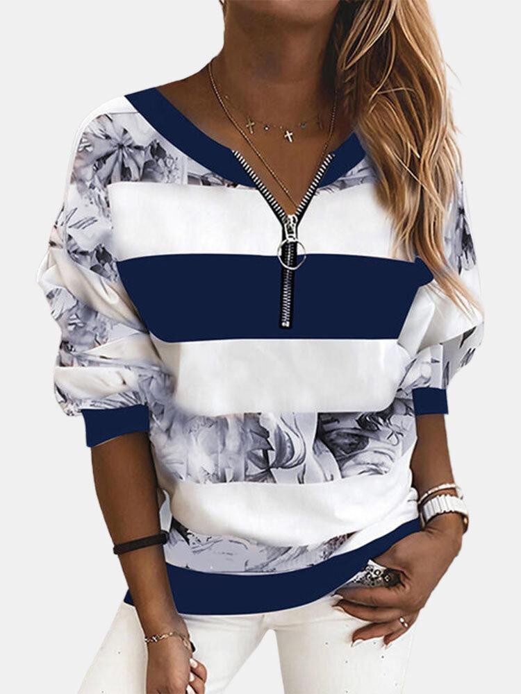 Vintage Printed Long Sleeve V-neck Zip Front Sweatshirt For Women