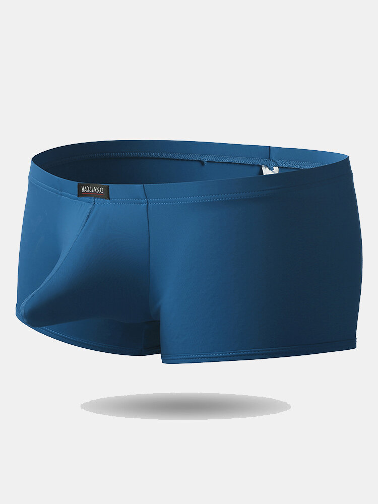 Mens Ice Silk Breathable Sexy Elepahant Shaped U Pouch Boxer Briefs Underwear