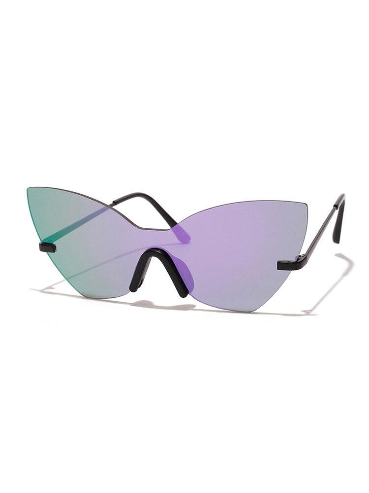 Women Retro Cat Eye Anti-UV Metal Temple Sunglasses No-frame Butterfly Sunglasses