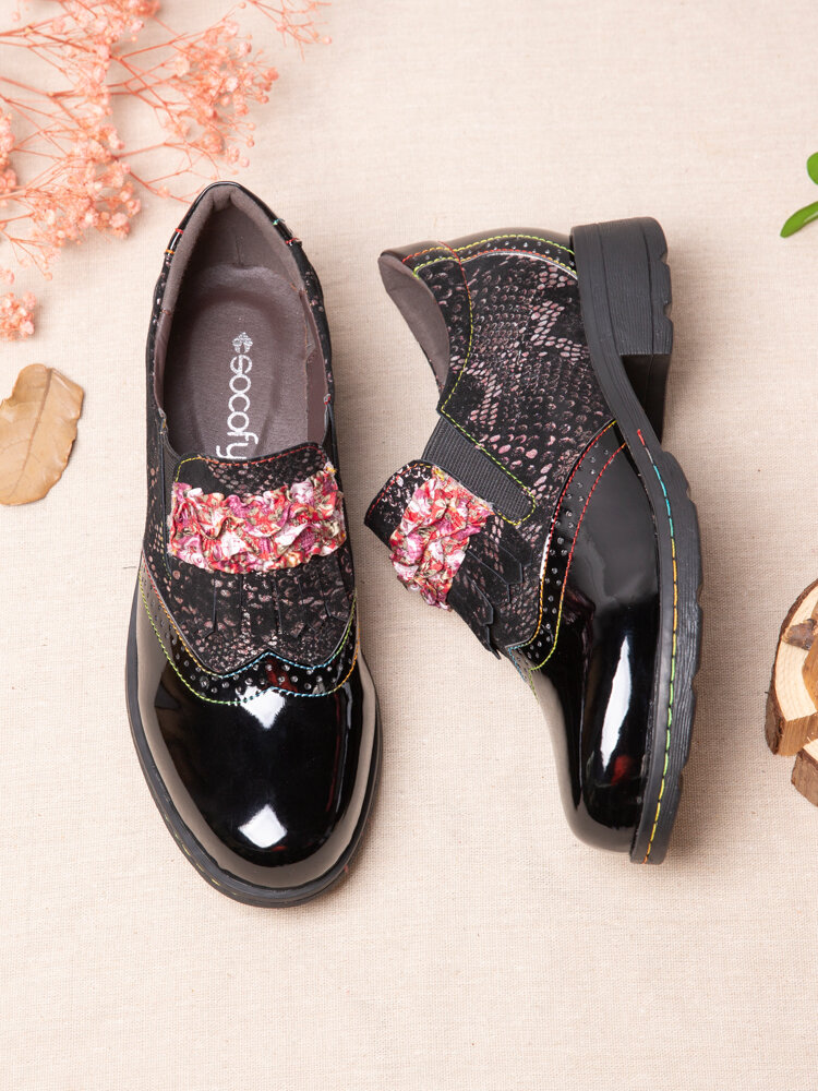 SOCOFY Retro Serpentine Stitching Comfy Round Toe Leather Wearable Slip On Block Heel Casual Shoes Elegant Loafers