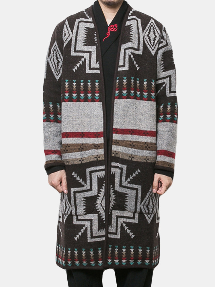 Mens Mid Long Woolen Printing Pattern Trench Coat Long Sleeve Slim Fit Casual Cardigans