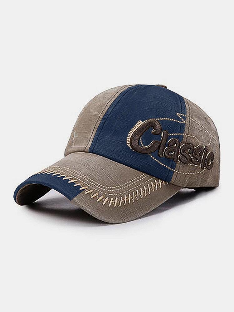 Collrown 男性綿パッチワークコントラストカラーレター刺繍カジュアル全試合野球帽