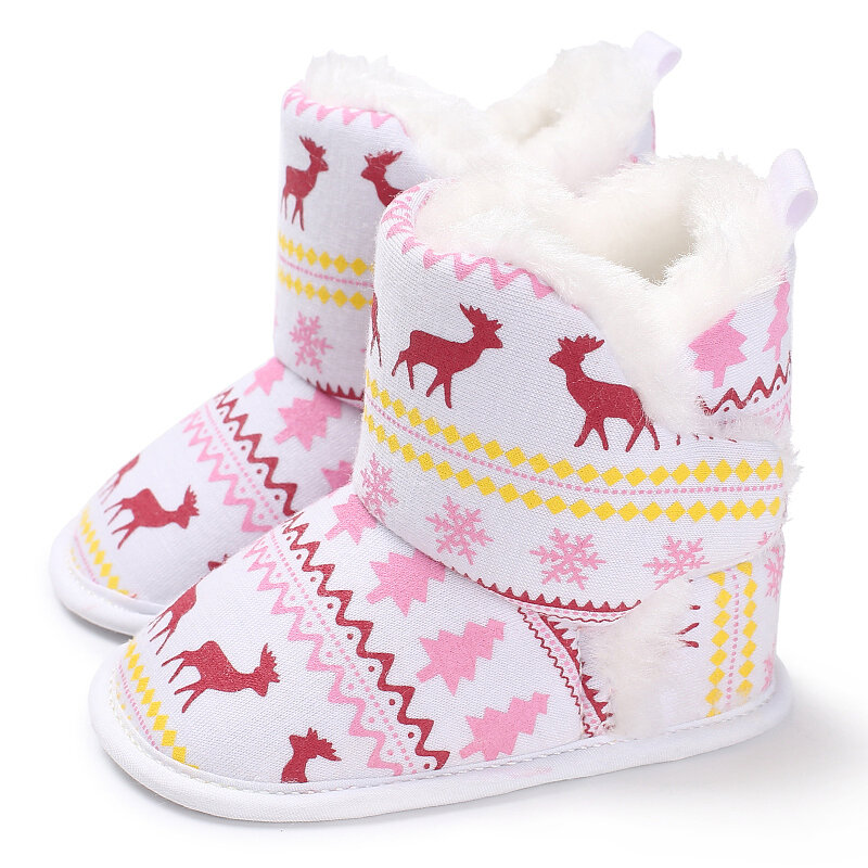 Baby Girls Christmas Fawn Pattern Comfy Warm Snow Boots Toddler Shoes
