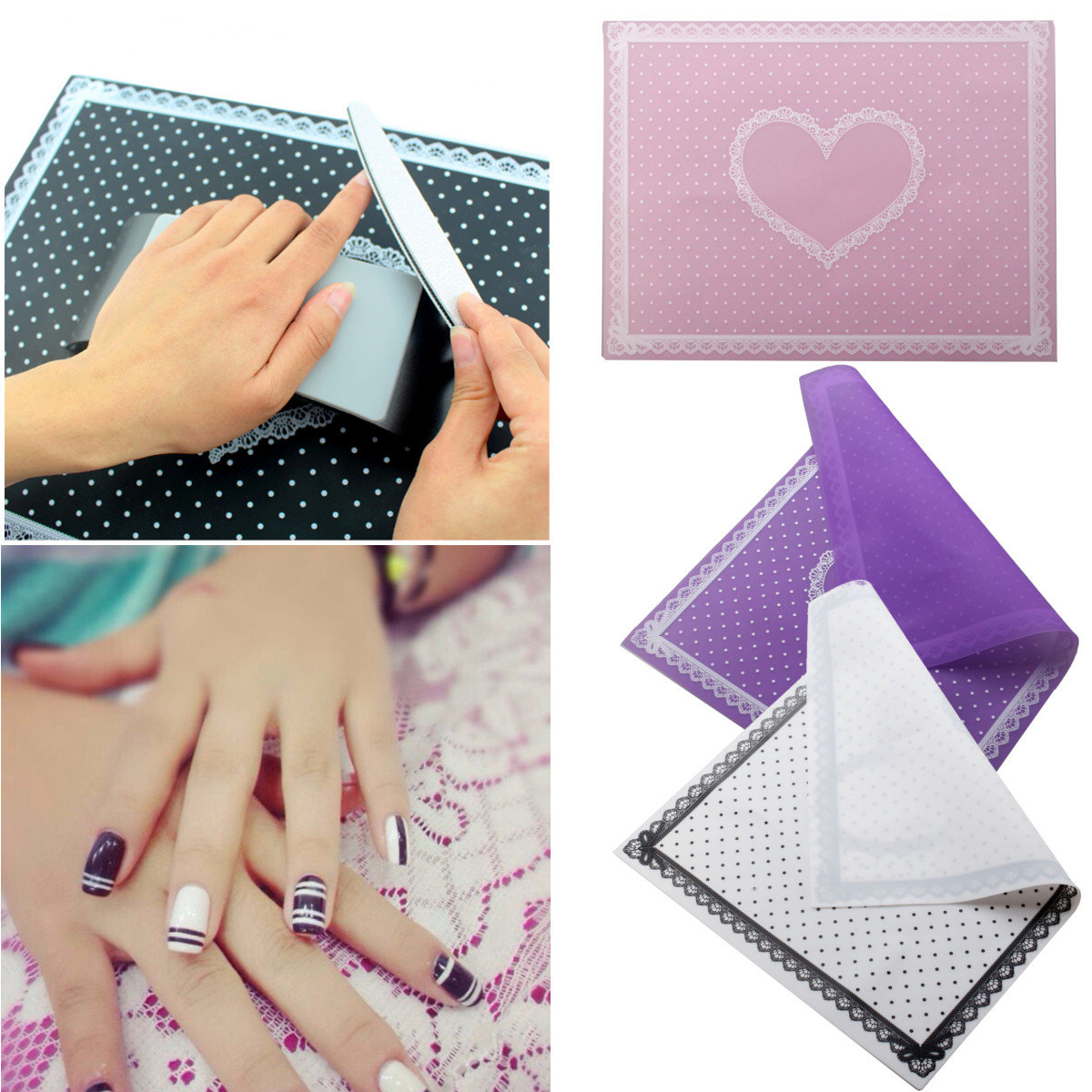 Silicon Lace Polka Dot Heart Pattern Nail Art Table Mat Pad Manicure Tool 3 Colors