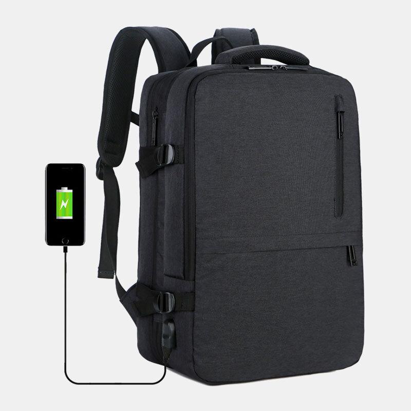 Men Oxford Extension Capacity 15.6 Inch USB Charging Multi-pocket Business Laptop Bag Backpack