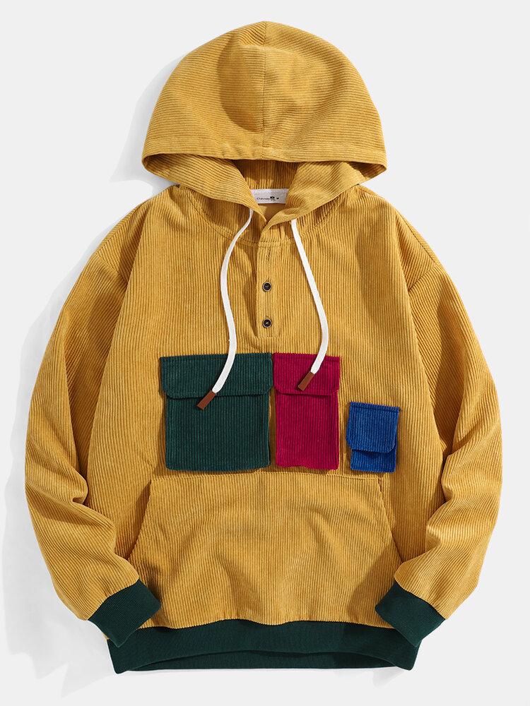 Mens Corduroy Multi-Color Pockets Designer Button Pullover Hoodie