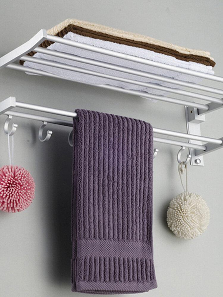 5Hooks हैंगर के साथ एल्यूमीनियम बाथरूम तौलिया रैक पॉलिश दीवार पर चढ़कर तौलिया रेल