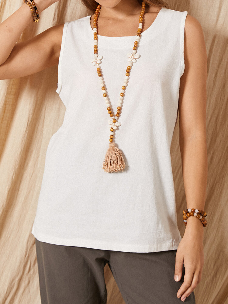 Solid Color O-neck Sleeveless Vintage Tank Top For Women