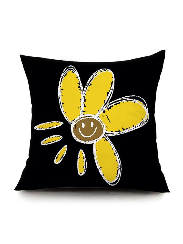 Ins Idyllic Fresh Daisy Flowers Plush Pillowcase Sofa Cushion Office Lunch Break Pillow