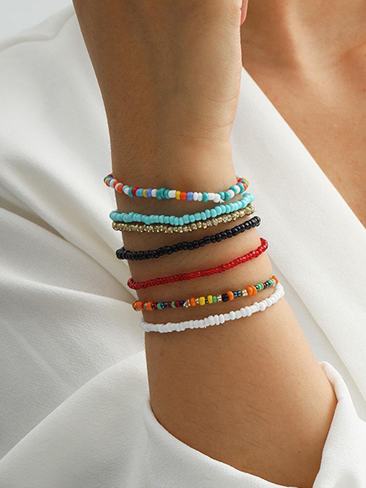 Ethnic Bohemia Rice Beads Colorful Bracelet Anklet Set