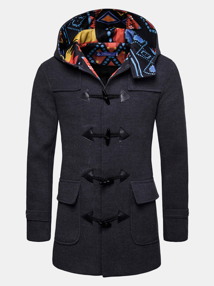 a42e320d205d Mens Horn Buckle Hooded Jacket Mid-Length Slim Fit Casual Woolen ...