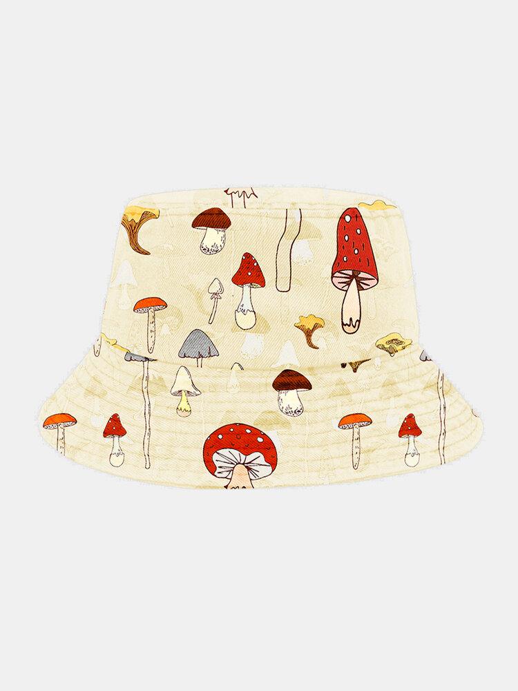 Unisex Cotton Overlay Mushroom Print Sunshade Fashion Element Bucket Hat