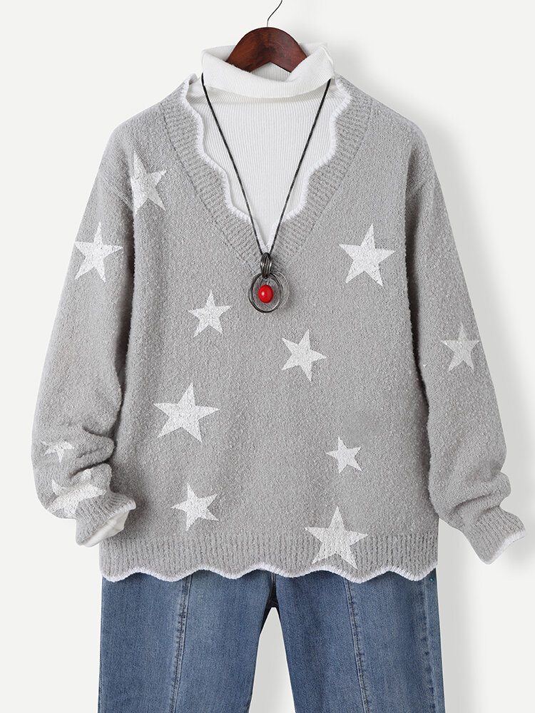 Star Print Wavy V-neck Long Sleeve Casual Sweater for Women