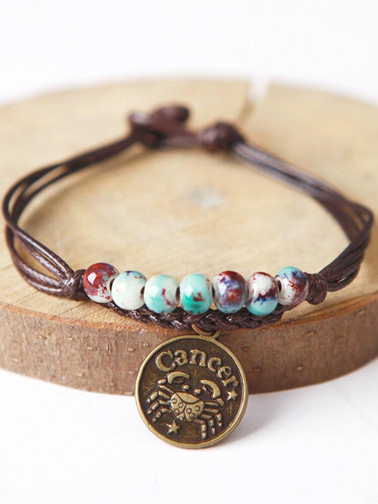 Vintage Constellation Circle-shape Ceramic Alloy Bracelets