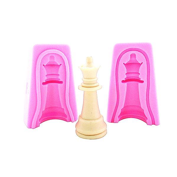3D 12pcs Edible Chess Set Silicone Fondant Mold DIY Sugarpaste Mould Cake Topper