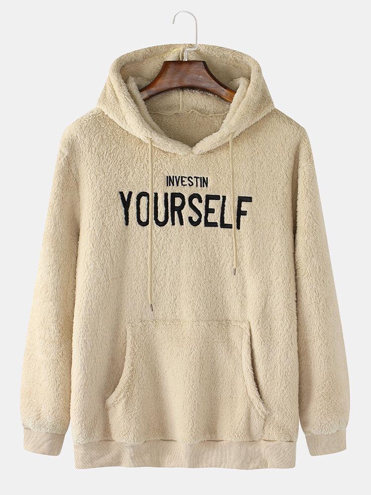 Mens Yourself Embroidered Plain Fleece Fluffy Hoodies With Kangaroo Pocket