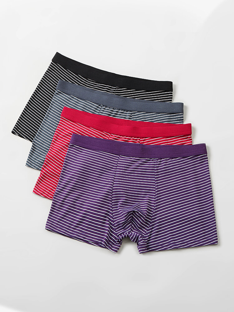 4 Pack Mens Pinstripe Breathable Underwear Modal Cozy Boxer Briefs With Pouch